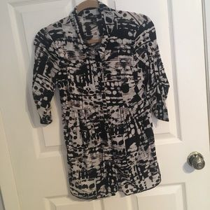Style & Co. Black & White 3/4 Sleeve Blouse - PS